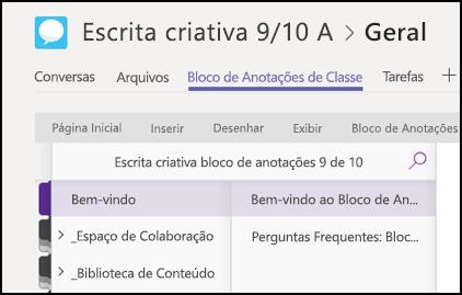 Seções do Bloco de Anotações de Classe