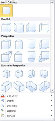Opções de efeitos 3D da WordArt no Publisher 2010