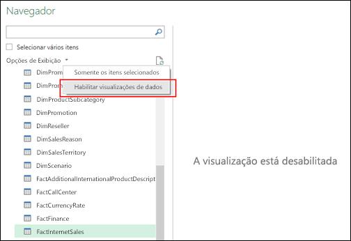 Power Query - Capacidade para desabilitar as visualizações na janela do navegador