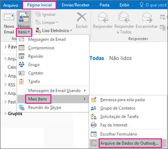 Escolha Novos Itens > Mais Itens > Arquivo de Dados do Outlook.