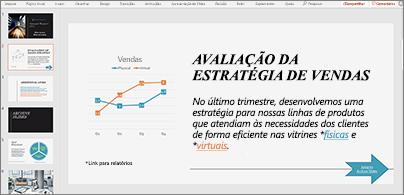 Apresentação com slide que inclui um gráfico e texto com dois hiperlinks