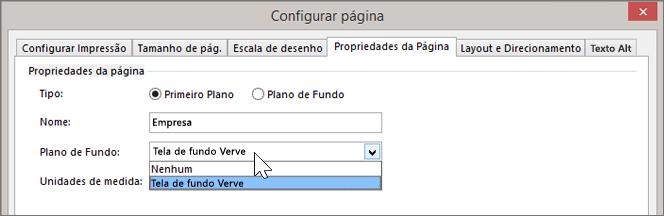 Instantâneo de Configuração de Página > Propriedades da Página com o Plano de Fundo Verve selecionado no menu suspenso de Plano de Fundo