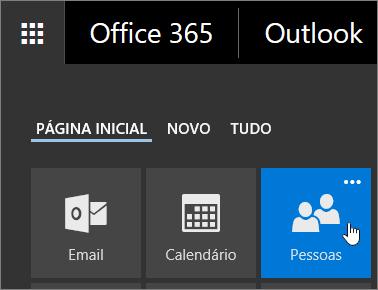 Uma captura de tela do cursor do mouse passando sobre o bloco Pessoas no Inicializador de Aplicativos do Office 365.