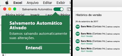 Faixa de opções do Excel com a bolha de Salvamento Automático à esquerda e uma lista de histórico de versão à direita