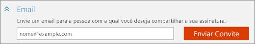 Captura de tela da seção Email da caixa de diálogo Adicionar alguém, com o botão Enviar Convite.