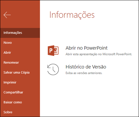 A guia informações do Office Online mostrando o item histórico de versão.
