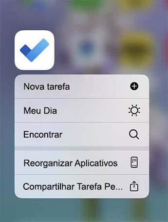 O menu para ação rápida está aberto com a opção de adicionar uma nova tarefa, adicionar ao meu dia ou localizar uma tarefa
