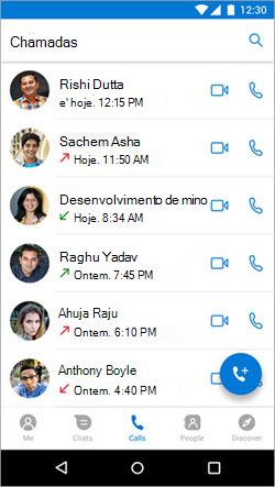 Captura de tela do início de uma chamada na guia chamadas no Kaizala