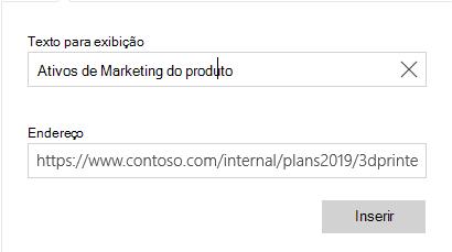 Caixa de diálogo texto do hiperlink do email para Windows 10