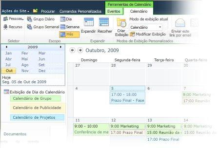 Usando vários calendários no SharePoint