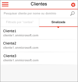 Home page móvel do Administrador de Parceiros do Office 365