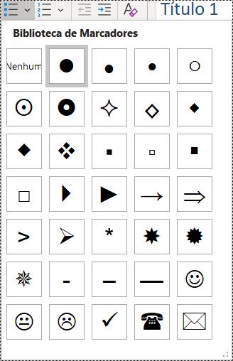 Captura de tela da seleção de item de lista com marcadores no menu Página Inicial.