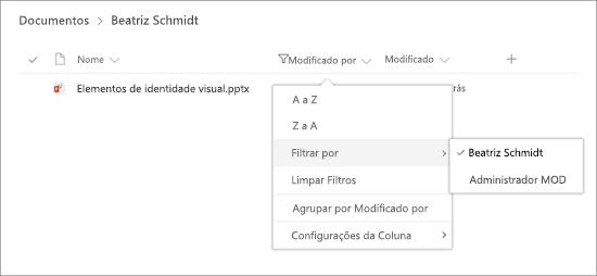 Painel de filtro com seleções de cabeçalho de coluna