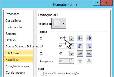 Caixa de diálogo Formatar forma com rotação 3D X selecionada