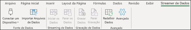 Suplemento de Streamer de Dados no menu da faixa de opções do Excel