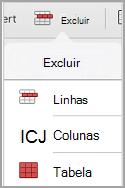 menu de exclusão de tabela de iPad