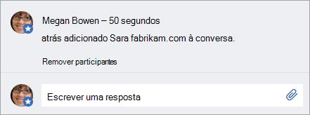 Um usuário externo adicionado a uma mensagem