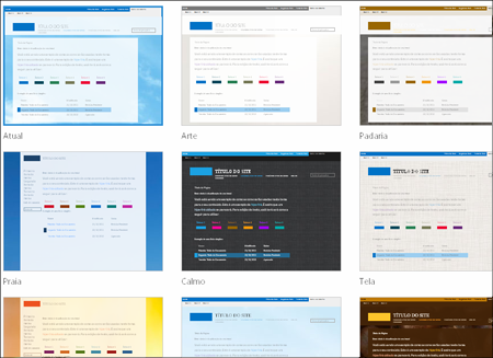 Página do SharePoint Online que mostra imagens de modelos de site