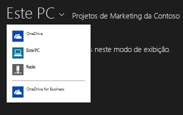 Selecionar o OneDrive for Business de outro aplicativo