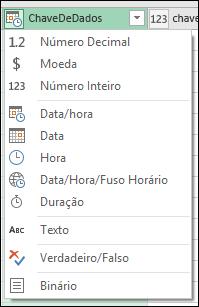 Power Query - indicador de tipo de coluna em cabeçalhos de coluna de visualização do Editor de consultas