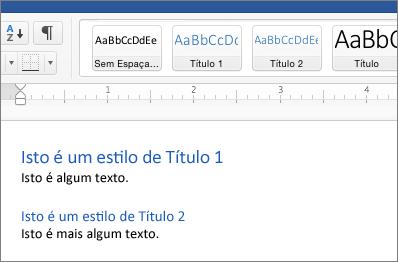 Exemplos de estilos do Título 1 e Título 2 em um documento