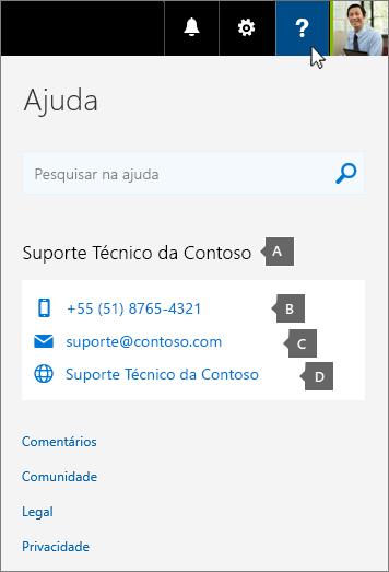 Exemplo de informações de contato de suporte personalizado de uma organização.