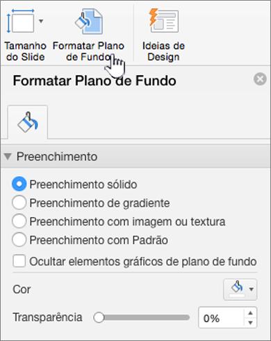 Configuração do formato da tela de fundo
