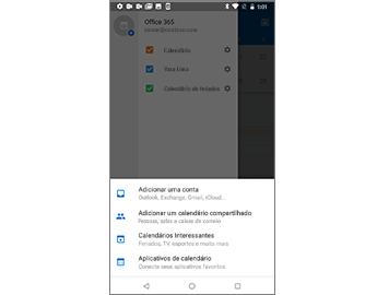 Painel Configurações em segundo plano e menu com comandos relacionados ao Calendário em primeiro plano