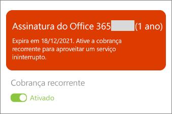 Examine os detalhes da sua assinatura do Office 365