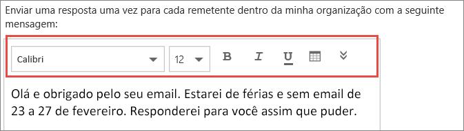 Mensagem de respostas automáticas do Outlook na Web