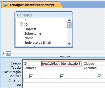 consulta que contém uma expressão que faz a caixa de diálogo inserir valor do parâmetro ser exibida
