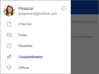 Modo de exibição compartilhado no OneDrive