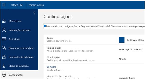 Página de configurações do Office 365