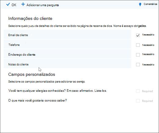 Captura de tela: mostrando a lista mestra de perguntas personalizadas.