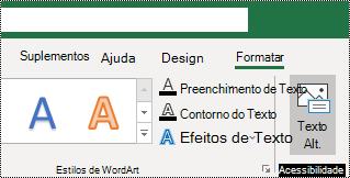 Botão texto alt na faixa de opções do Excel para Windows