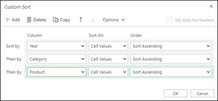 Classificação personalizada em Excel para a Web a partir de Dados > Classificar & Filter.