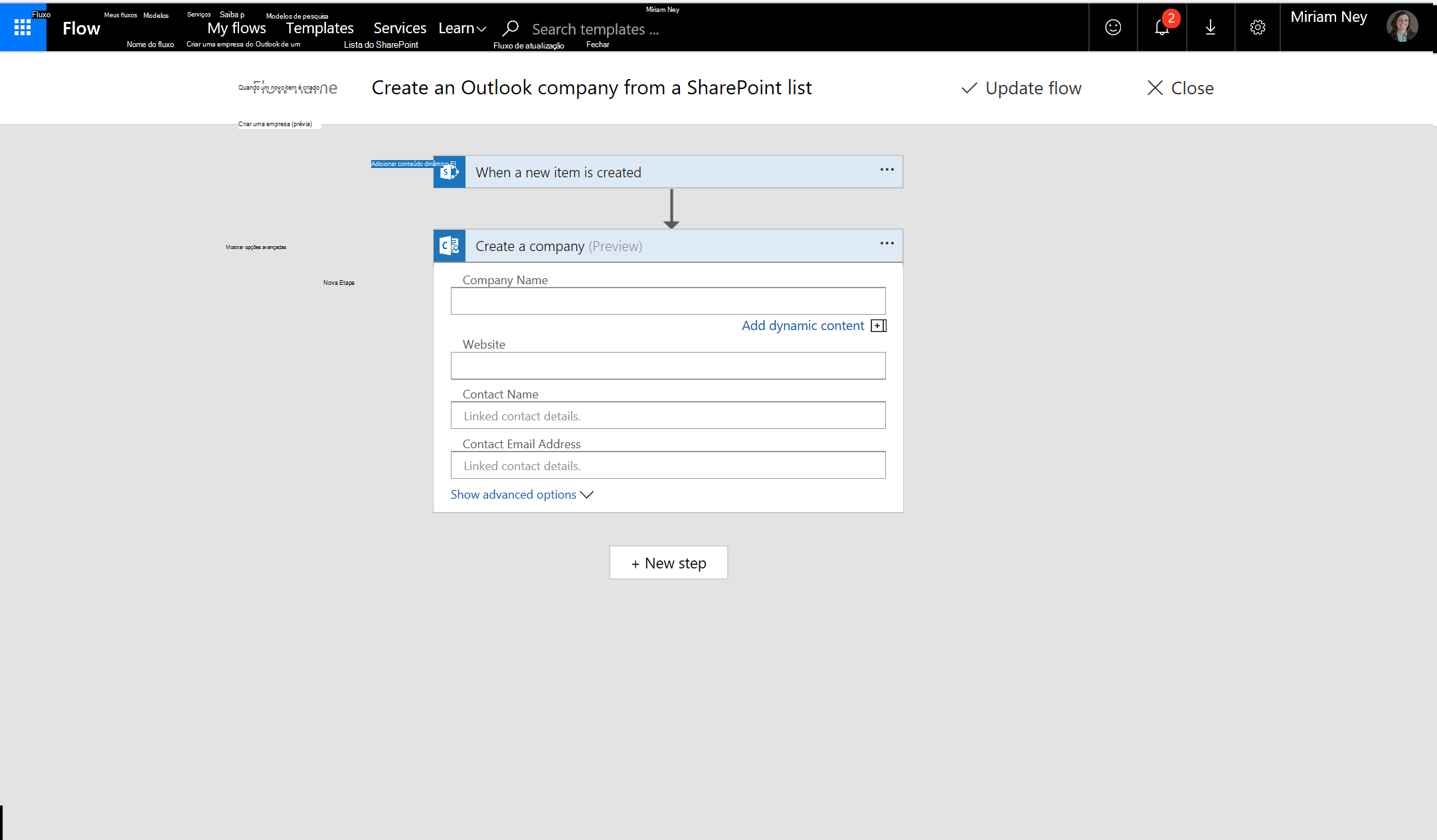 Captura de tela de como criar empresa usando fluxo