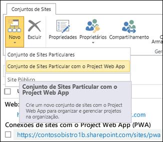 Novo > Conjunto de Sites Particulares com o Project Web App