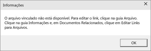 Mostra o erro de arquivo vinculado no PowerPoint