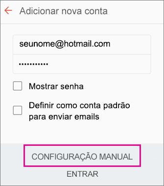 Escolha Configuração manual