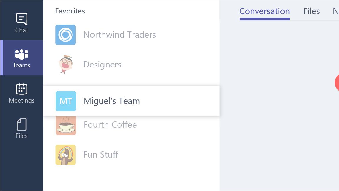 Esta captura de tela mostra como reordenar uma equipe na lista de equipes.