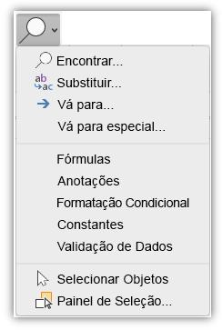 Captura de tela mostrando o menu Localizar e Selecionar que foi adicionado à guia Início da faixa de opções.