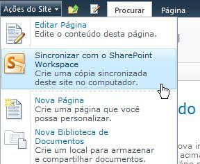 Sincronizar com o SharePoint Workspace