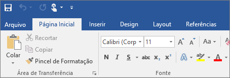 Mostra a faixa de opções colorida no Word 2016