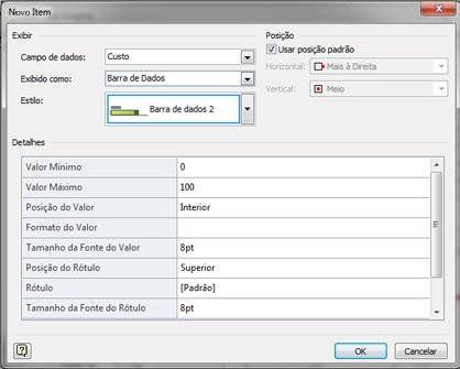 A caixa de diálogo Novo Item com Barra de Dados selecionado.