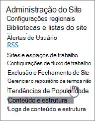 Link de gerenciamento de armazenamento em configurações de Site de termos
