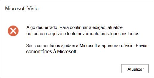 Captura de tela de um erro De algo deu errado ao editar um arquivo em Visio