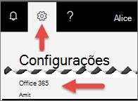 Uma imagem que mostra onde clique em configurações.