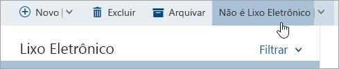 Uma captura de tela do botão não sendo lixo eletrônico