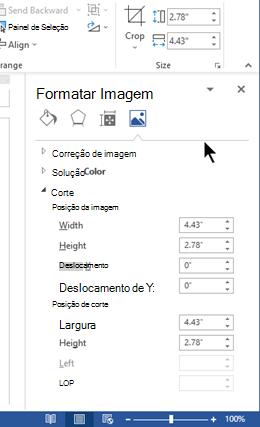 O painel Formatar imagem, encaixado no lado direito da janela no Word